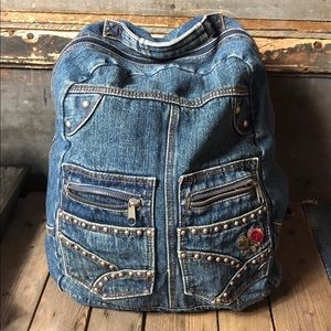 Vintage Denim Embroidered & Studded Backpack